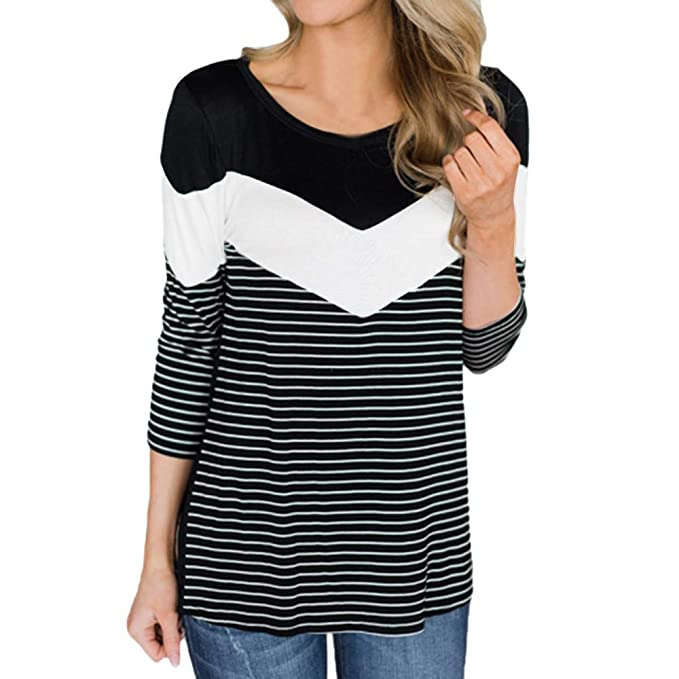 Luckycat Casual Striped Chevron Colorblock de Manga Larga con Cuello o Camiseta Top Blusa (Negro
