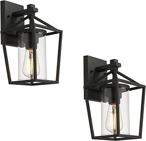 Emliviar Outdoor Wall Lights 2 Pack, Exterior Wall Mounted Light Fixtures, Black Finish with Clear Glass, 20065B3-2PK