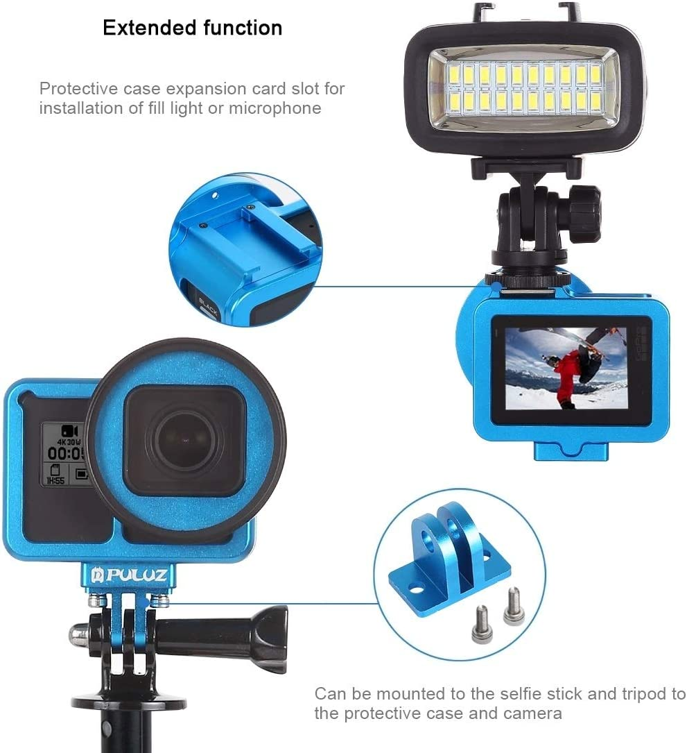 Color : Blue ZMKK Housing Shell CNC Aluminum Alloy Protective Cage with Insurance Frame /& 52mm UV Lens Black