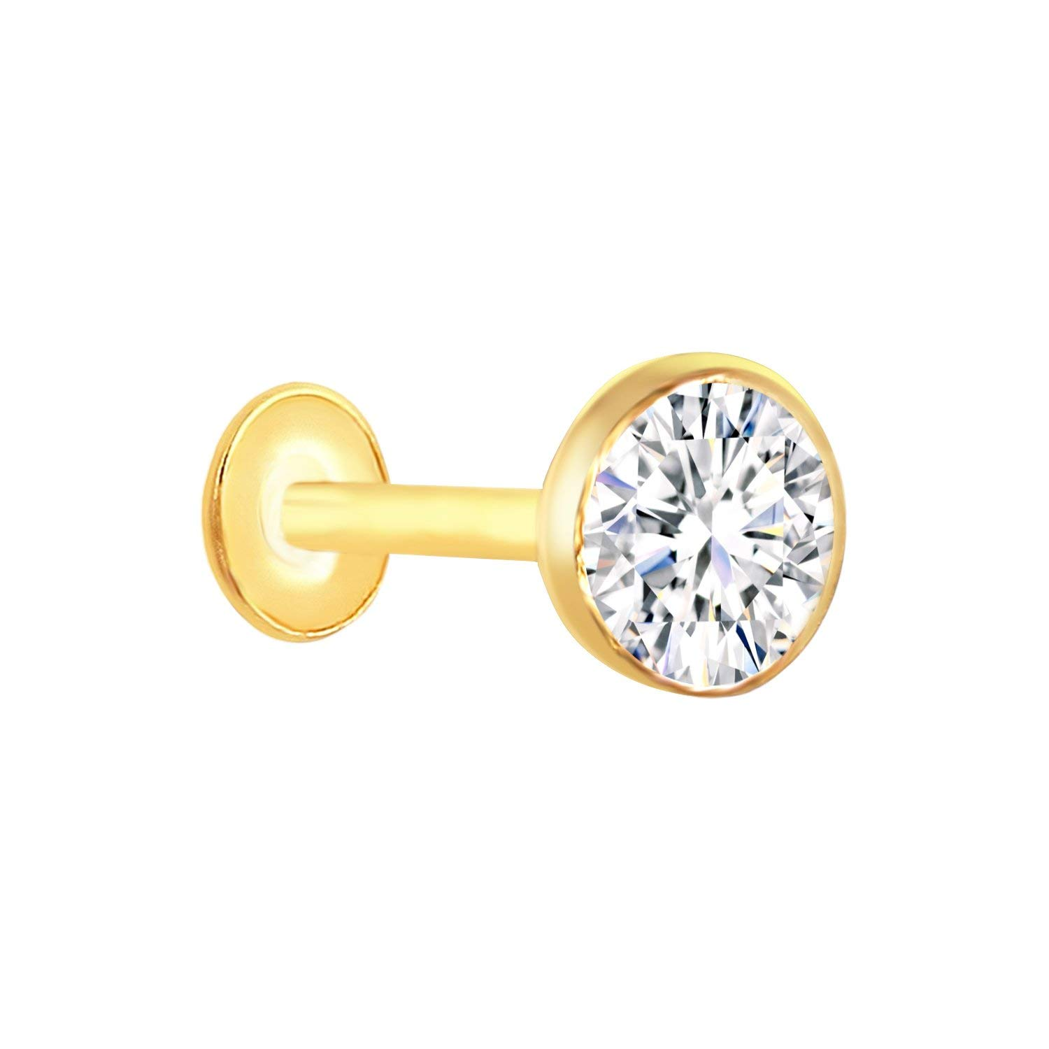 Buy Vandana Jewellery Girl S Metal 18 Carat Pure Gold Nose Pins Studs Diamond Nose Pins Stud Yellow Online At Low Prices In India Amazon Jewellery Store Amazon In