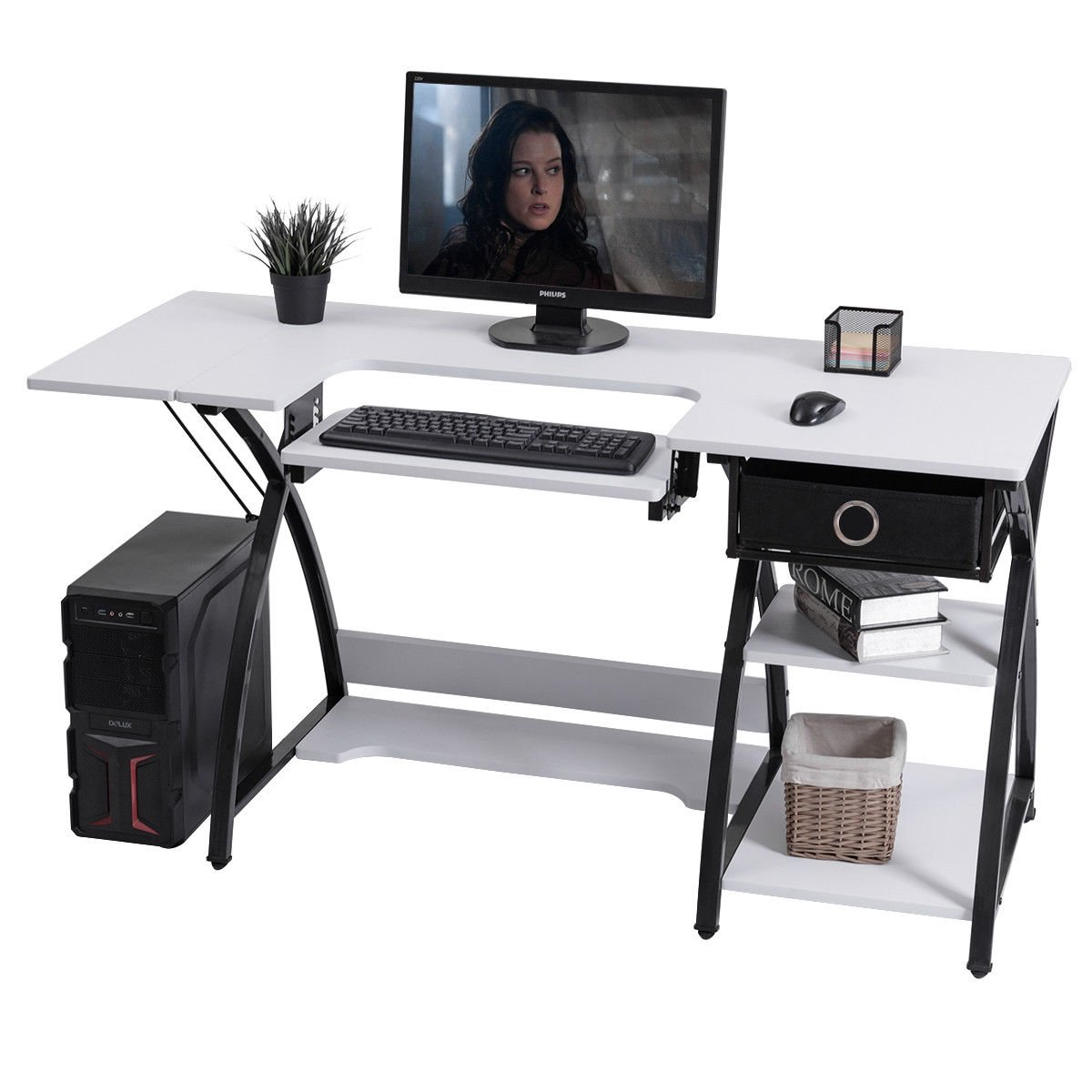 Costway Home Indoor Adjustable Sewing Craft Table Sewing Machine Sturdy Computer Desk with Drawer /& Shleves