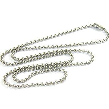 NiceButy collar colgante collar cadena bola perlas 3 mm en acero inoxidable aleación Dog Tag Placa Militar ejército cadena Fantasía joyas DIY regalo ...
