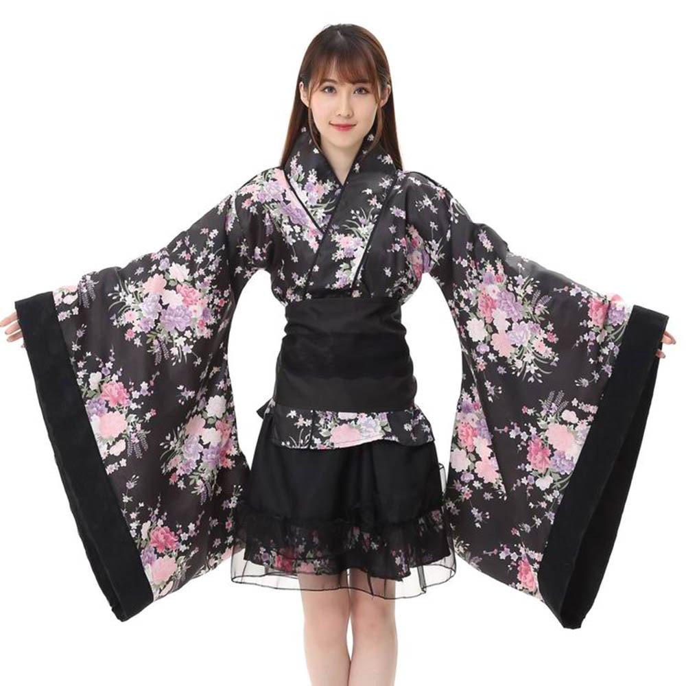 Amphia - Damen Dirndl Trachtenkleid,Frauen Festival Cosplay Lolita Japan Kimono Floral Maid Bogen Top Rock Set