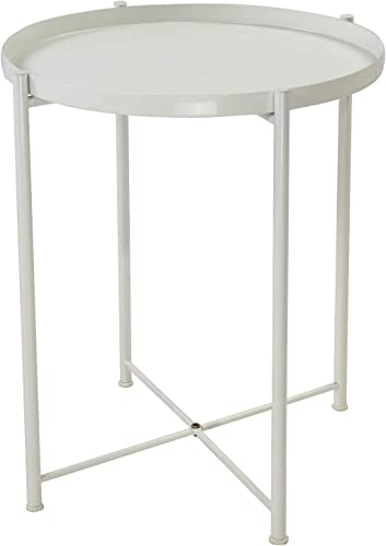 Tray Metal End Table Side Table Round Tray Removable Tray Outdoor Indoor Drink Snack Coffee Table Telephone Table