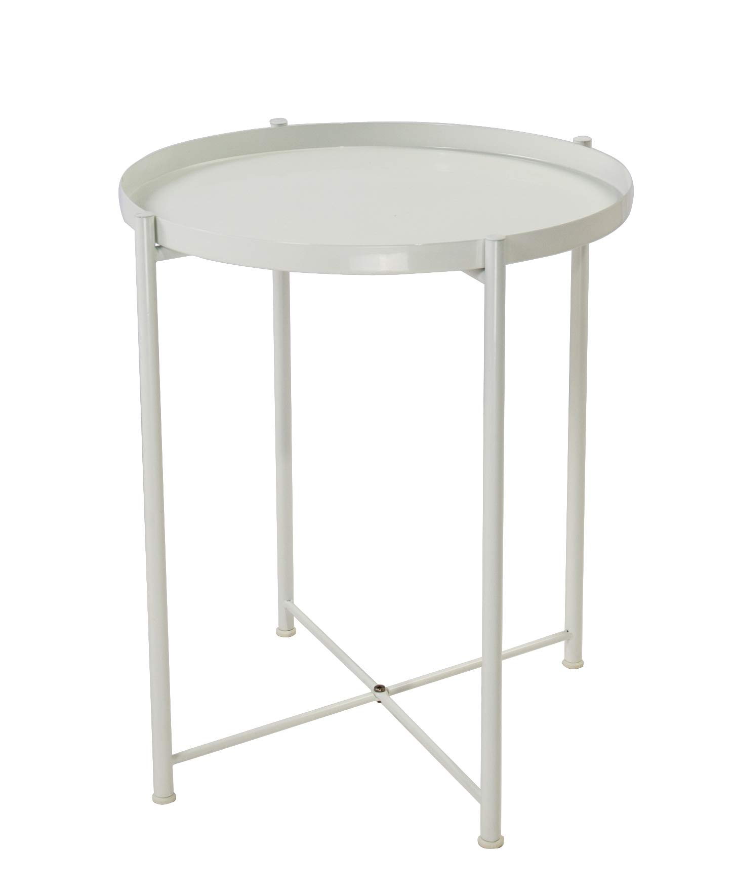Tray Metal End Table Side Table Round Tray Removable Tray Outdoor & Indoor Drink Snack Coffee Table Telephone Table