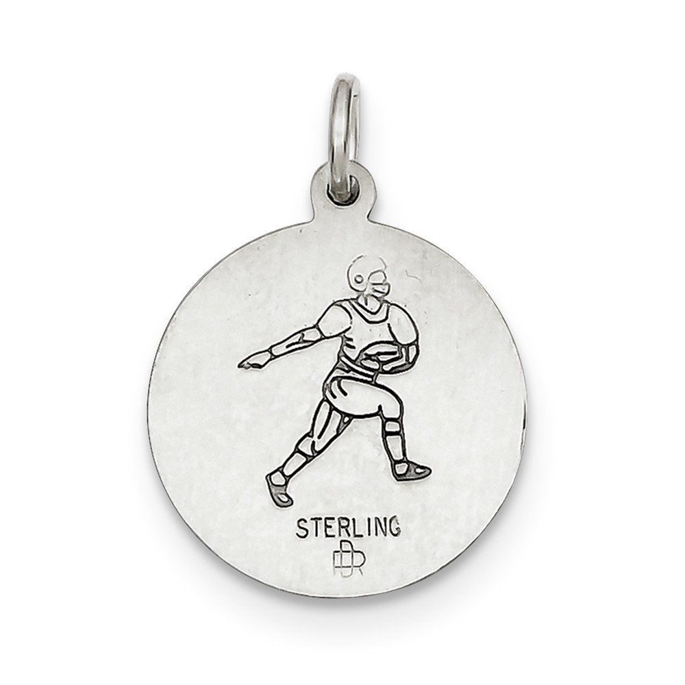 Christopher Football Medal Charm on an Adjustable Chain Necklace Sterling Silver St