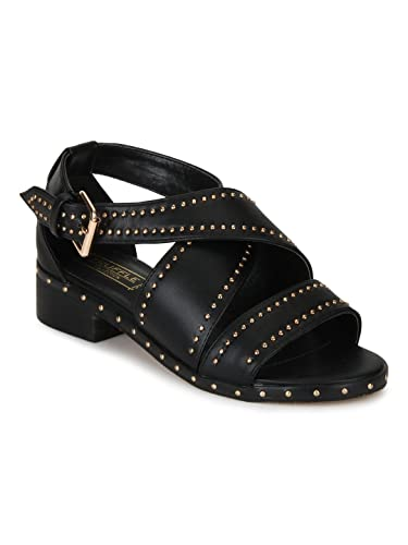 1e45aadcb0e8 TRUFFLE COLLECTION Black PU Studded Crossover Low Heel Sandals  Buy Online  at Low Prices in India - Amazon.in