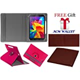 Acm Rotating 360° Leather Flip Case for Samsung Galaxy Tab 4 T231 Tablet Cover Stand Dark Pink (FREE Acm Wallet Included)