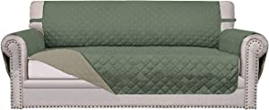 Easy-Going Sofa Slipcover Reversible Sofa Cover Furniture Protector Couch Cover Water Resistant Elastic Straps PetsKidsChildrenDogCat(Sofa,Greyish Green/Beige)
