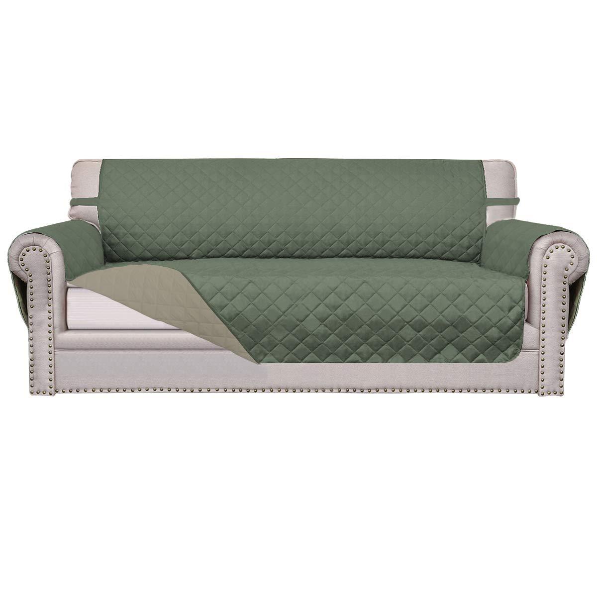 Easy-Going Sofa Slipcover Reversible Sofa Cover Furniture Protector Couch Shield Water Resistant Elastic Straps PetsKidsChildrenDogCat(Sofa,Greyish Green/Beige)