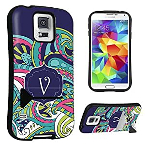 DuroCase ? Samsung Galaxy S5 Kickstand Case - (Mint Flower Monogram V)