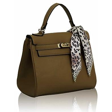 12d3082ff6e Xardi London Nude Designer Women Handbag Office Tote Soft Faux Leather  Ladies Top Handle Scarf Bag