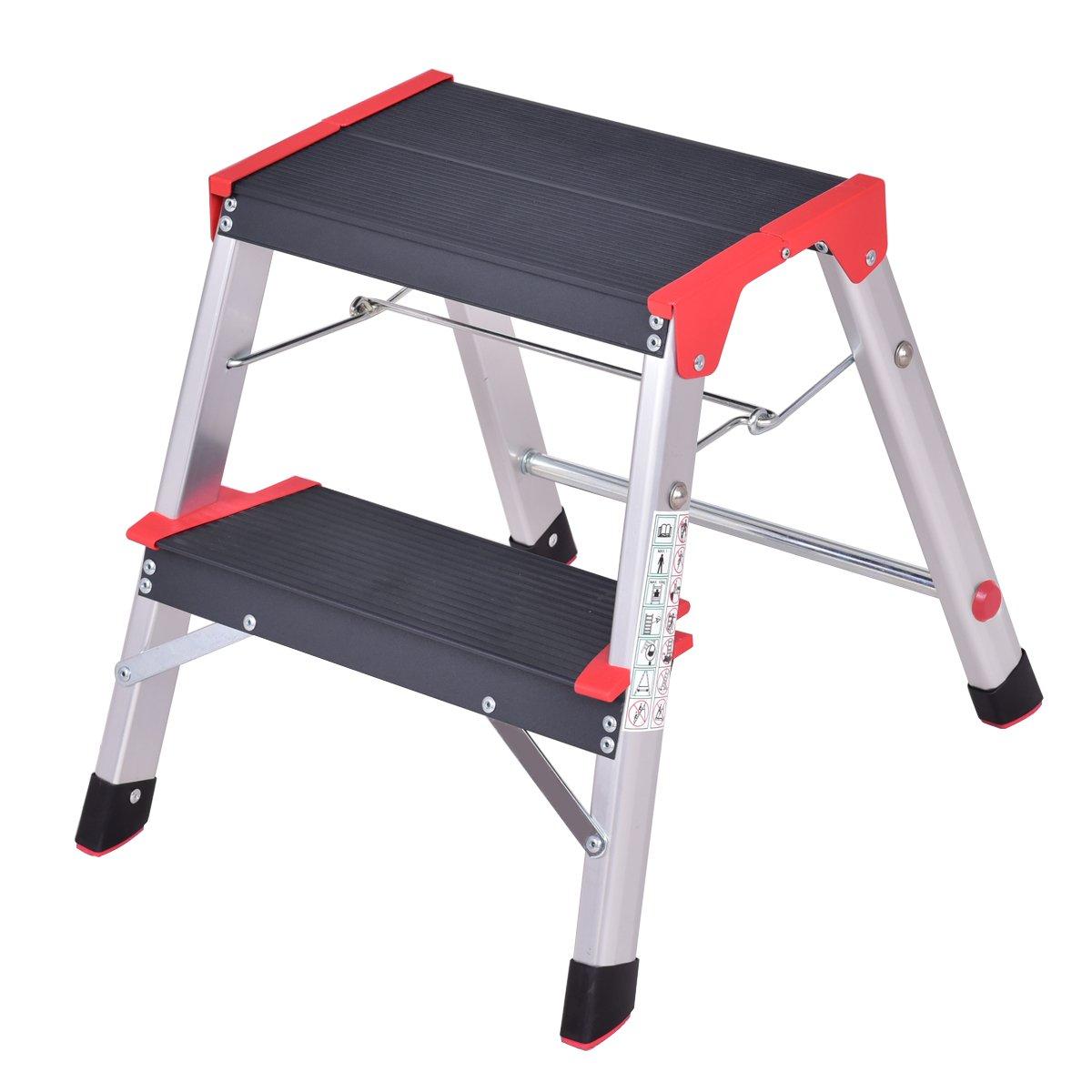 Giantex Aluminum 2 Step Ladder Folding Non-Slip Lightweight 330lbs Capacity Platform Stool