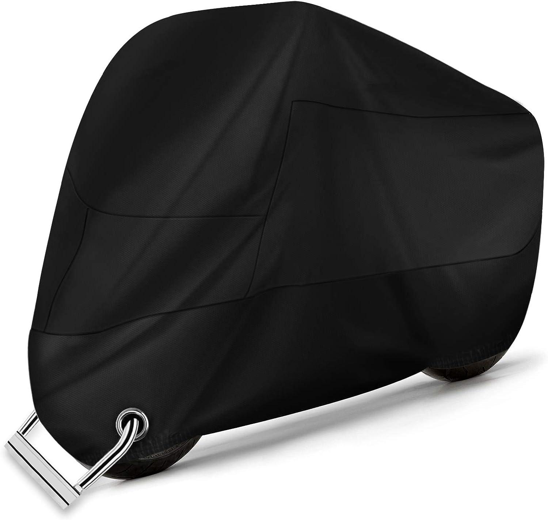 Alfheim Motorrad Abdeckplane 210d Oxford Stoff Wasserdicht Atmungsaktiv Motorradhüllen Mit 2 Verriegelungslöchern Diebstahlsicherung Anti Staub Rost Regen Schnee Uv Für Honda Yamaha Suzuki Xxl Auto