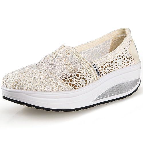 Hishoes Zapatos de Mujer Sandalias de Verano Mocasines de Moda Zapatillas de Plataforma Casuales Zapatillas de Lona para Mujer Cuña: Amazon.es: Zapatos y ...