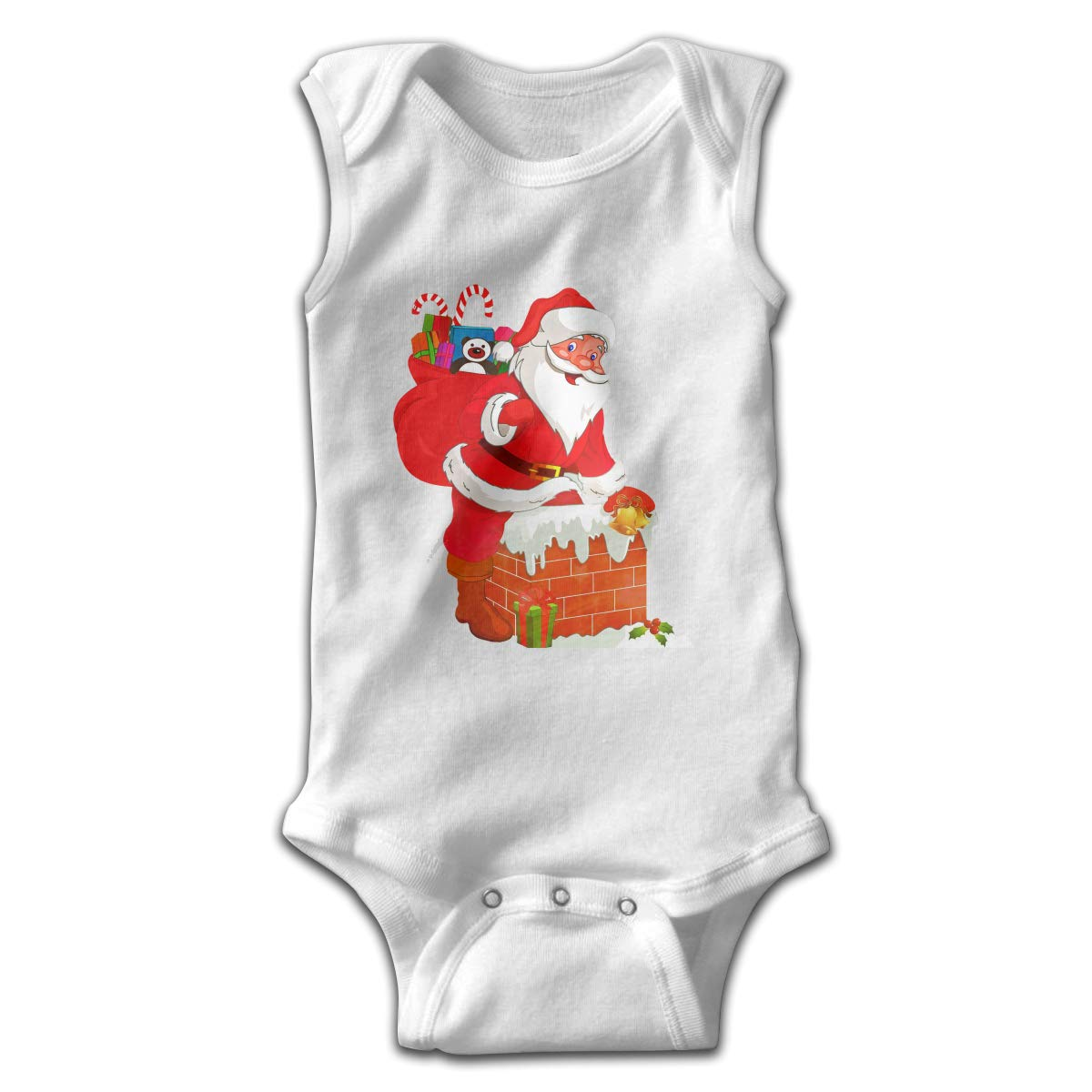 Efbj Toddler Baby Boys Rompers Sleeveless Cotton Onesie,Santa Claus Climb Into The Chimney Bodysuit Summer Pajamas