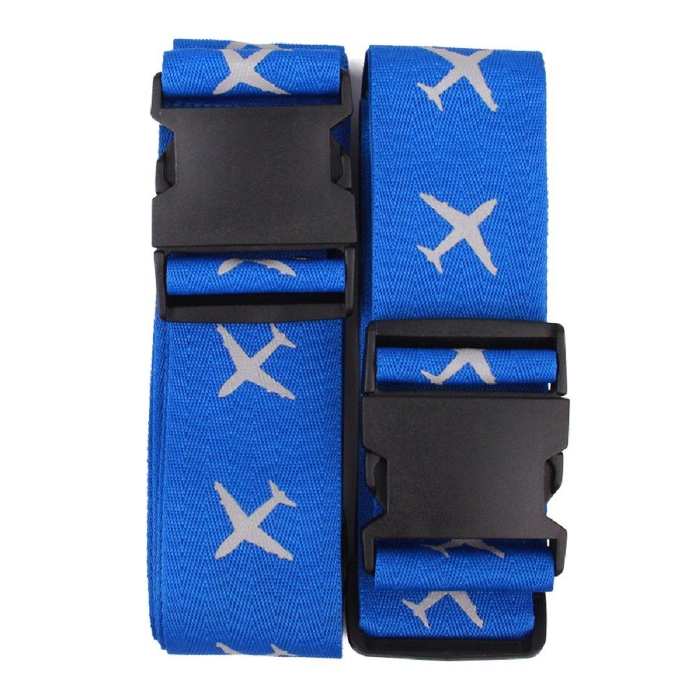 K& C Heavy Duty Extra Long Luggage Strap Suitcase Travel Belt 2 Pack Blue USDBD-LTBU