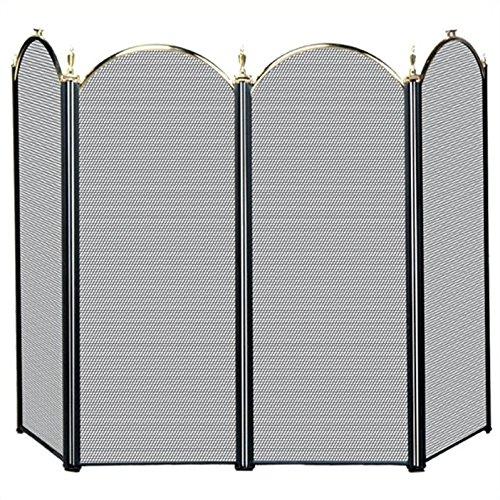 - Pemberly Row 4 Fold Polished Brass/Black Screen
