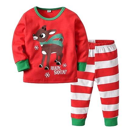 Conjuntos Niña Invierno Navidad Estampado Pijama Unisex Recien Nacido Niño Invierno Tops + Pantalones 9 Meses