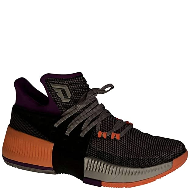adidas Dame 3 Shoe Men's Basketball 4 Solid Grey-Shock Purple-Glow Orange