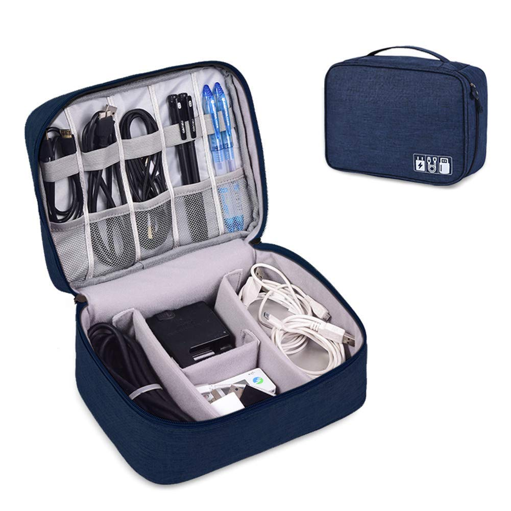 DENSITY COLLECTION Travel Electronics Accessories Organizer Bag- Waterproof Cable Organizer Bag with 3 Removable Dividers, Padded Gadget Carrying Case for...