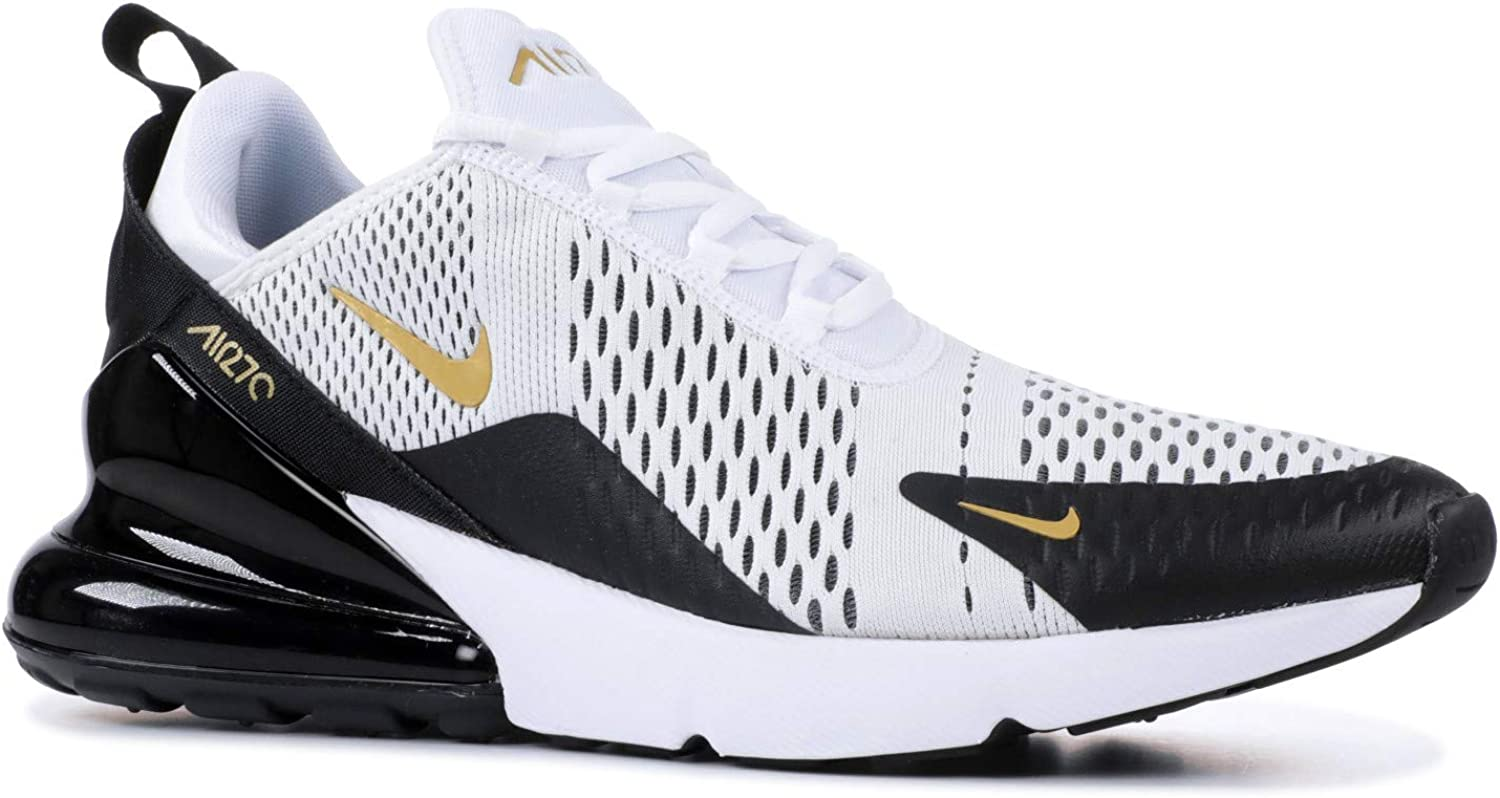 juego petróleo ganar  Amazon.com | Nike Men's Air Max 270 White/Black/Gold AV7892-100 (Size: 9.5)  | Road Running
