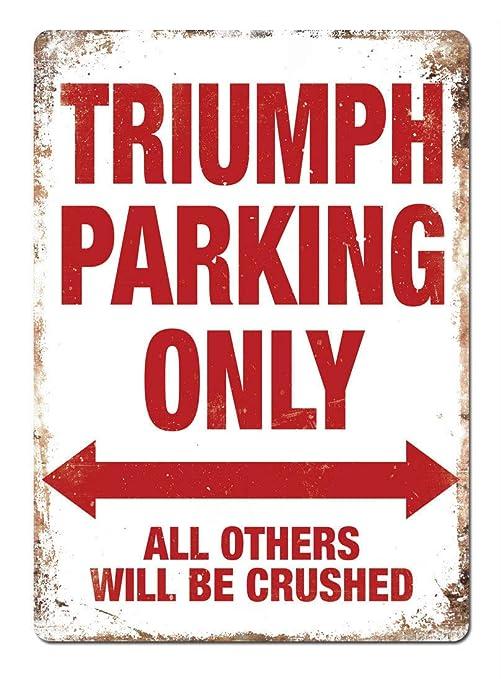 DGBELL Triumph Parking Only Cartel de Pared de Chapa ...