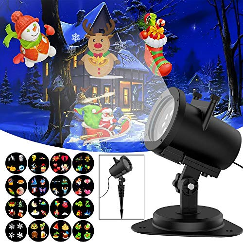 Led Light Projector Halloween Sanwsmo 6W Waterproof IP65, Outdoor/Indoor Switchable Slides Moving Rotating Projector Led Lights for Christmas Weding Holiday Party Home Decoration Lamp (6W) -