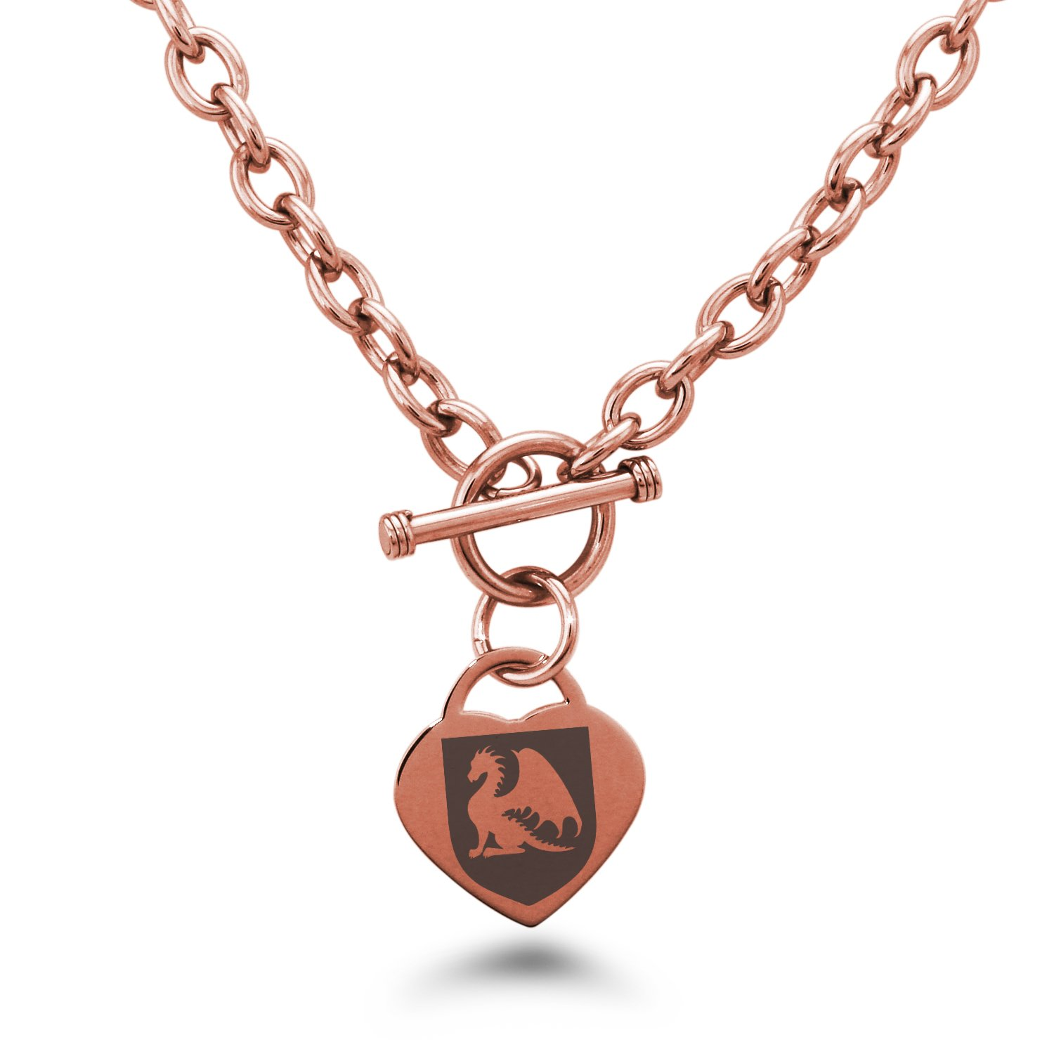 Tioneer Rose Gold Plated Stainless Steel Dragon Guardian Coat of Arms Shield Symbols Heart Charm, Necklace Only