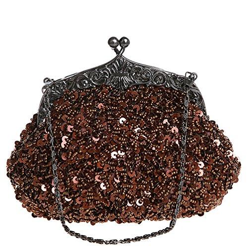 Handbag Party Sequins Coffee Clutch Dark Wedding Bridal Beaded Shoulder for Bag Women' Handmade ZAKIA w5AqPIA