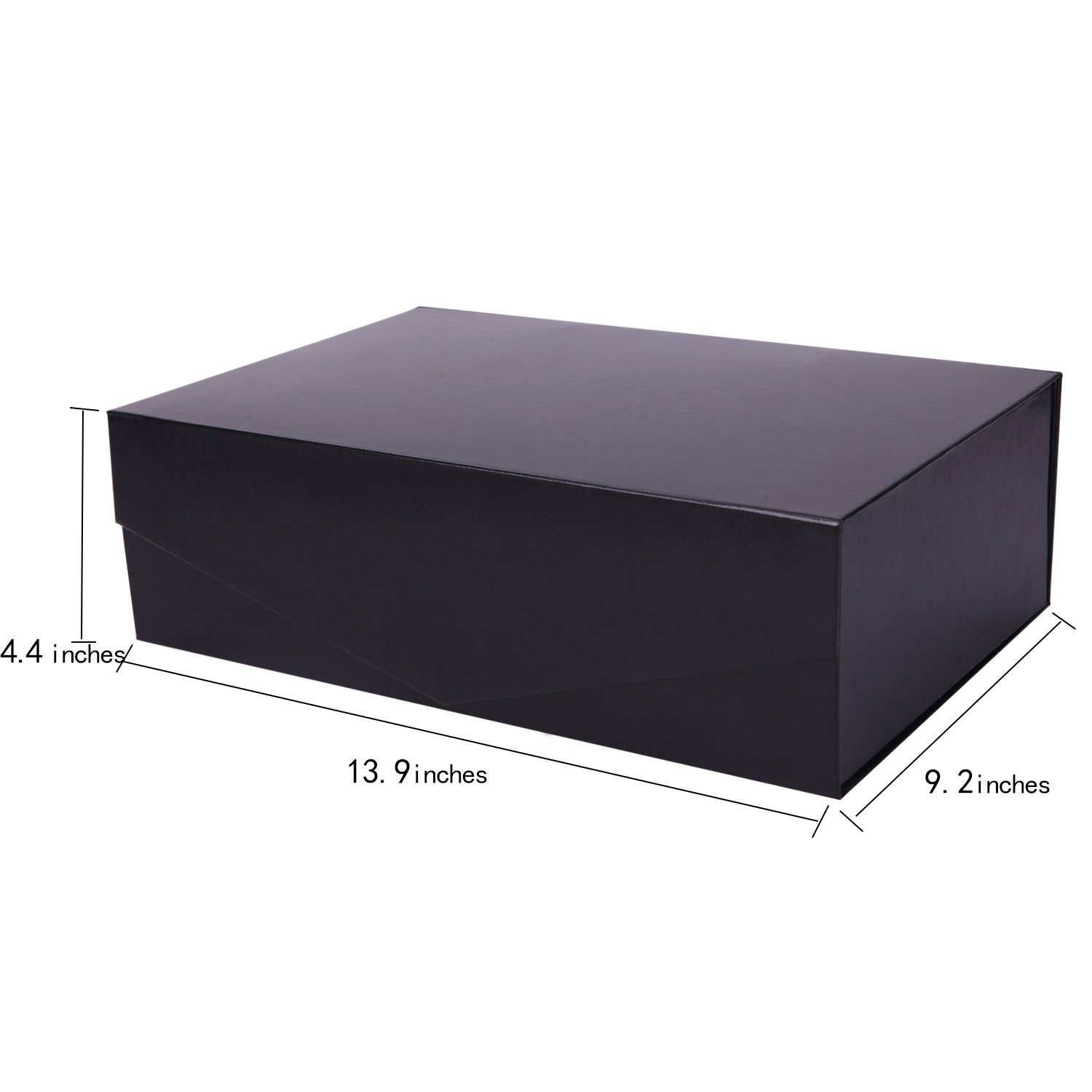 Large (13.9'' x 4.4'' x 9.2'') Gift Box Magnetic Closure Box Magnetic Closure Collapsible Gift Box Hamper Box Decorative Storage Box Decorative Boxes with Magnetic Closure (Black, Pack of 5 by PACKHOME by PACKHOME (Image #4)