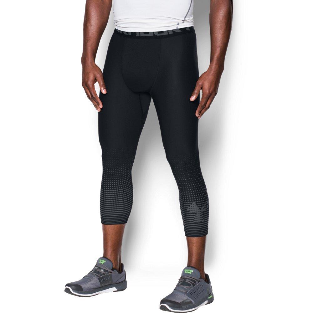 Under Armour Men's HeatGear Armour Graphic ¾ Leggings,Black (001)/Graphite, Large by Under Armour (Image #1)