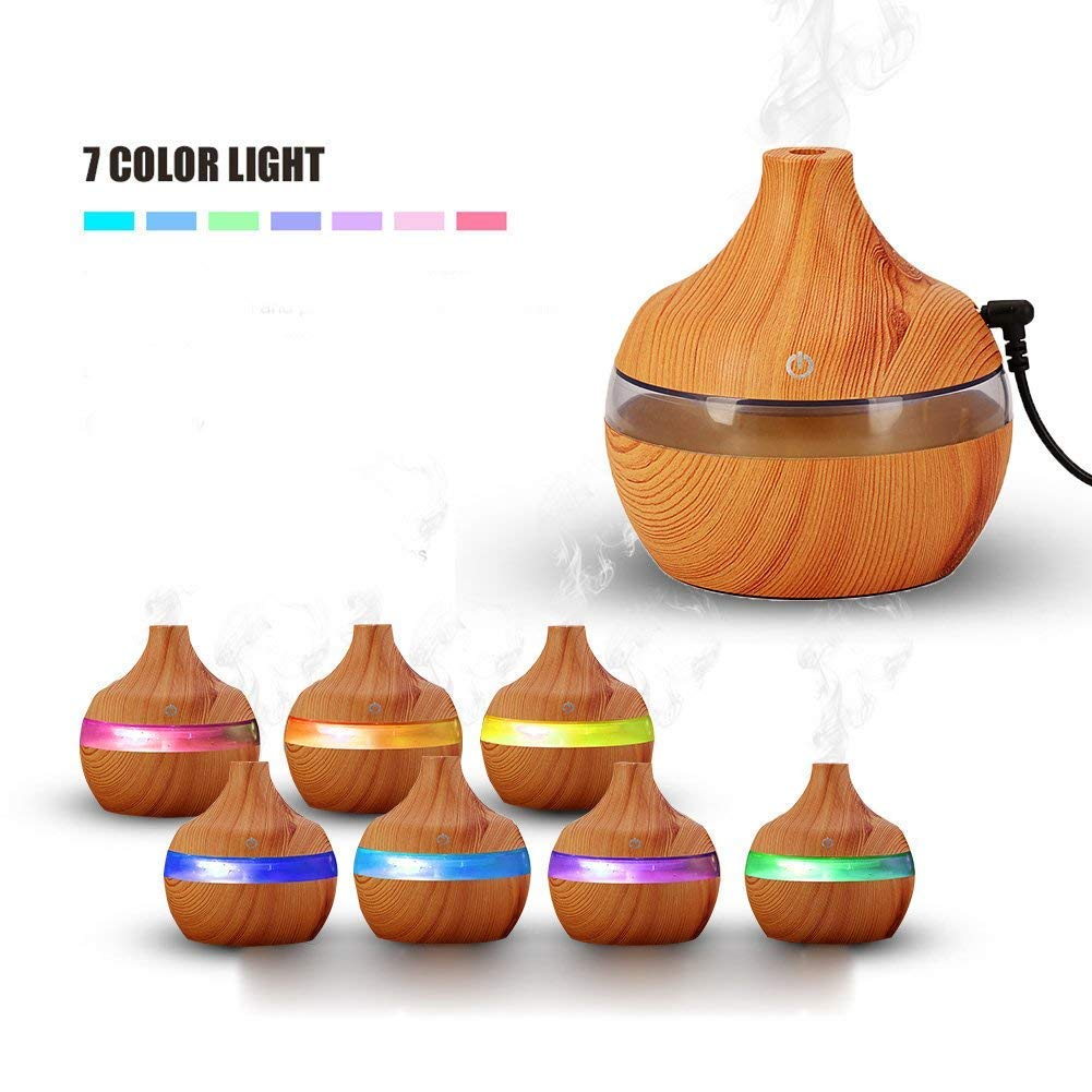 BoJia 300ML Wood Grain Ultrasonic Cool Mist Humidifier Air Humidifier for Bedroom, Living Room and Office