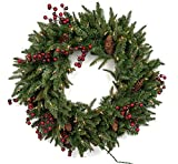 Vita Domi 30'' Wellington Fir Pine Spruce Decorative Wreath 2 Tone Green with 70 Clear Lights and 400 Tips (Clear Lights)
