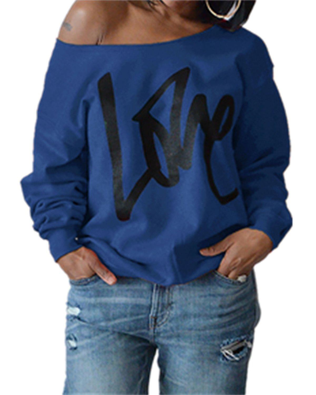 Yanekop Womens Love Sweatshirt Letter Print Off The Shoulder Slouchy Pullover(Bright Blue,XL)