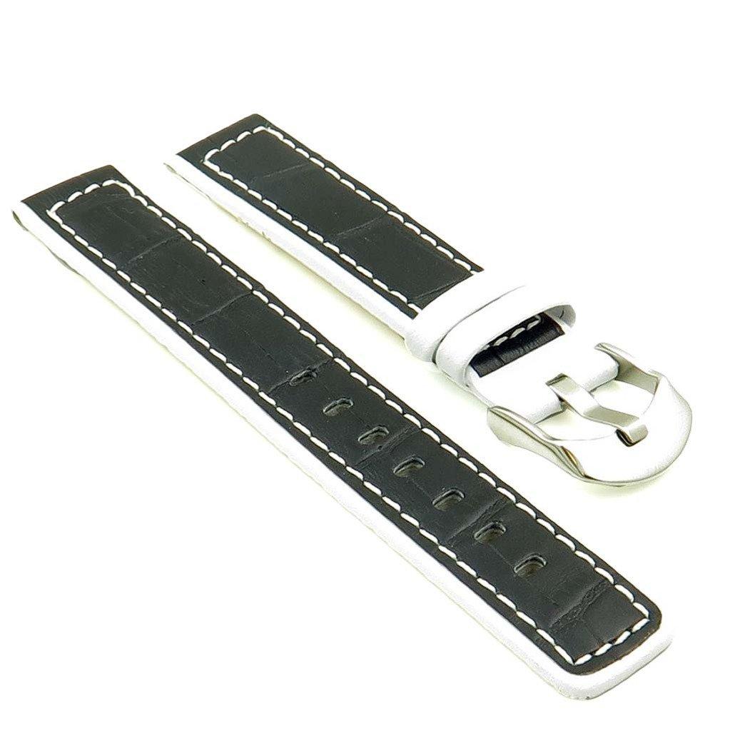 StrapsCo 黒 / 白 クロコダイル型押しレザー 時計ストラップ サイズ 20mm 20MM|ブラック ブラック 20MM B012X2LKLU