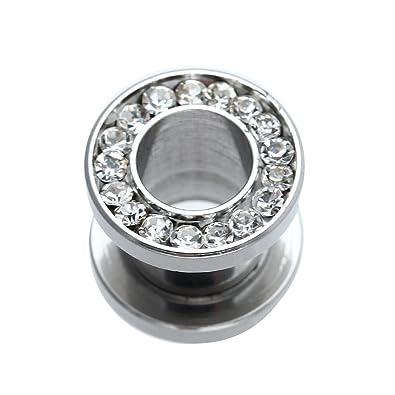 Dilatador Dilatación Piercing Tubo Acero Inoxidable Diamante de Imitación 8mm: Amazon.es: Joyería