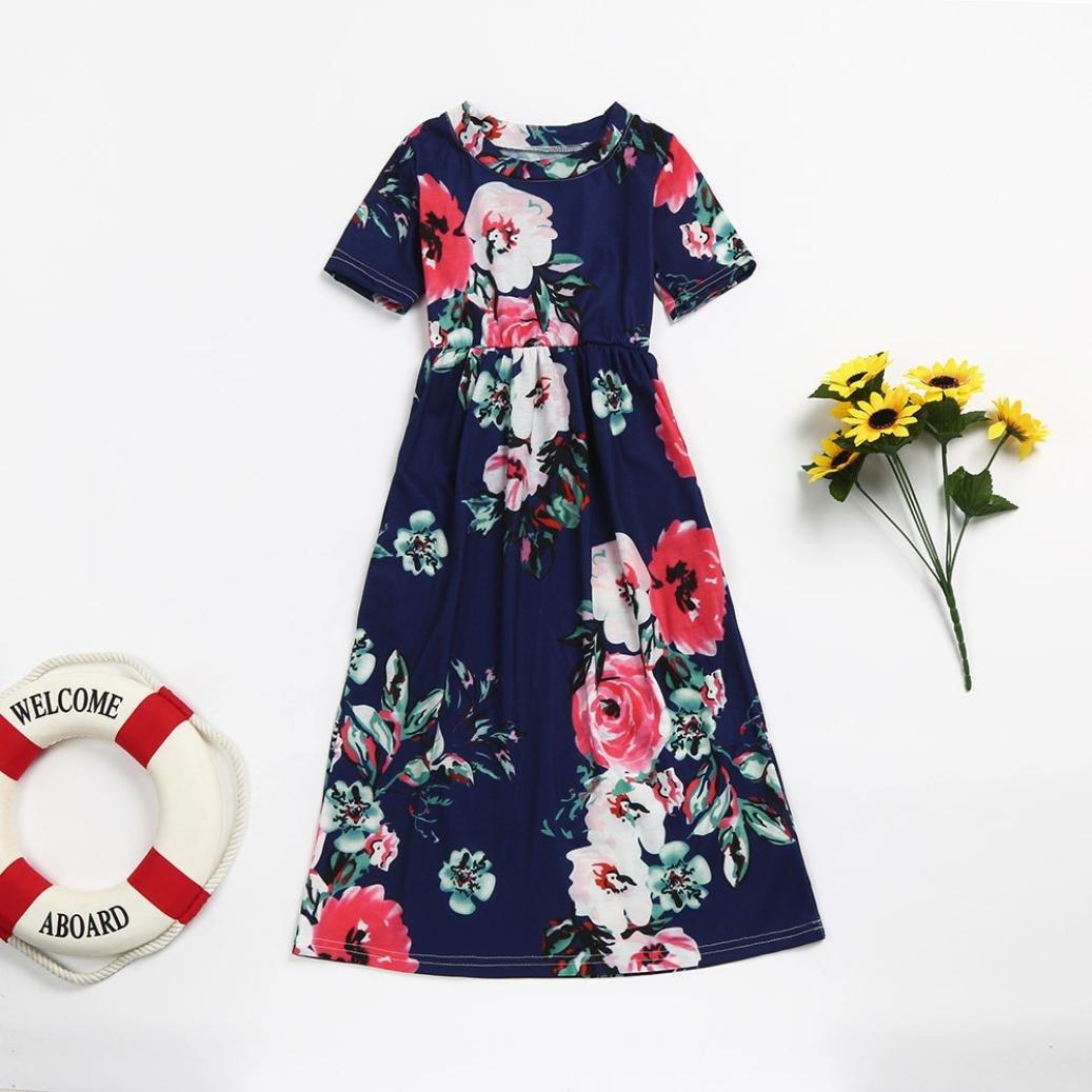 ❤ Ropa de Playa, Vestidos Largos, Vestido de Niña Moda Niño Pequeño Niño Niña Estampado de Flores Princesa Fiesta Vestido Trajes Ropa Absolute: ...