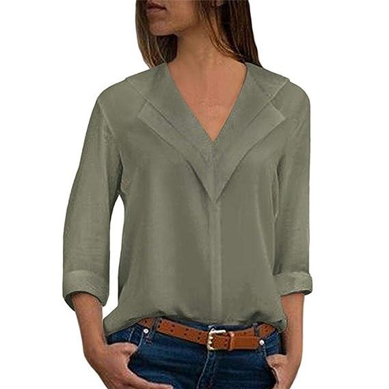 70d0ed22fbbde0 NPRADLA 2018 Sommer Damen Shirt Langarm V Ausschnitt Elegant Bluse Chiffon  Einfarbig Büro Plain Roll Ärmel