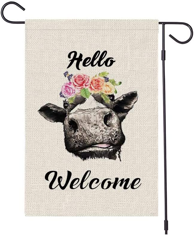 HABILY Cow Garden with Flower Flag Vertical Double Sided Burlap Hello Cattle Yard Flags, Welcome House Flag 12.5 x 18 Inch for Summer Spring Yard Outdoor Decor