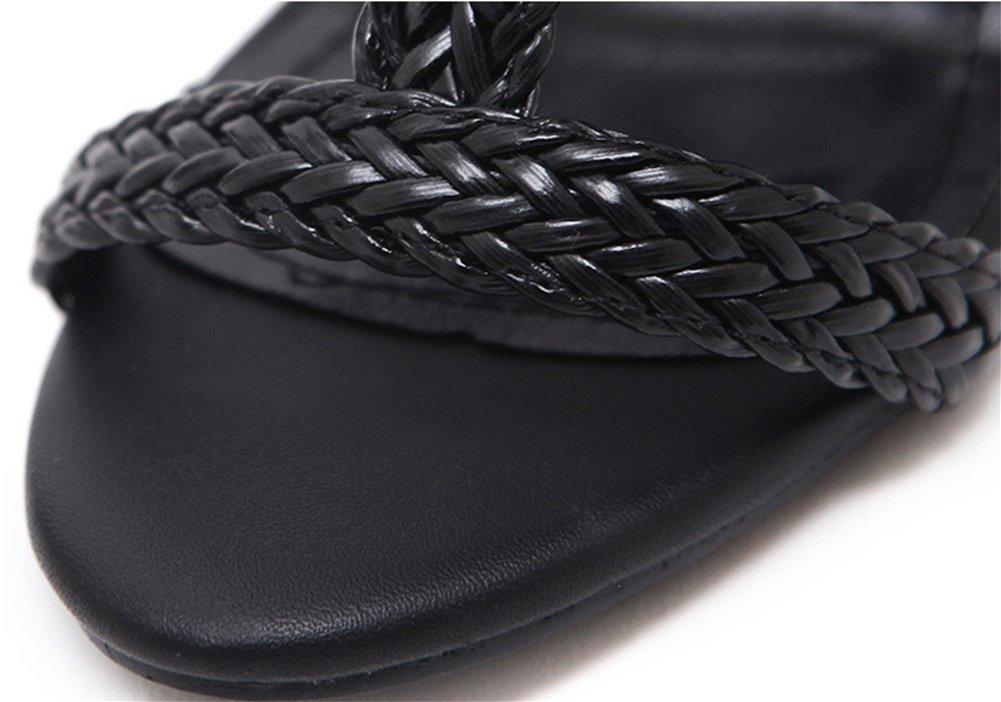 NVXIE Damen Woven Schuhe Sandalen Rom Woven Damen Super High Heels Damenschuhe mit offener Spitze 35-39 schwarz 6dca4a