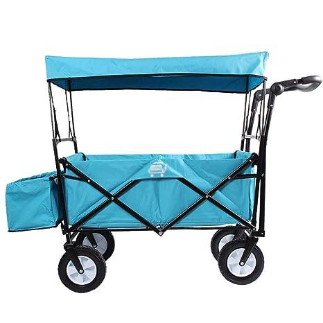 Utilitario Pull Wagon Plegable Carro de carros Plegables con Capota extraíble, Gran Capacidad y 4
