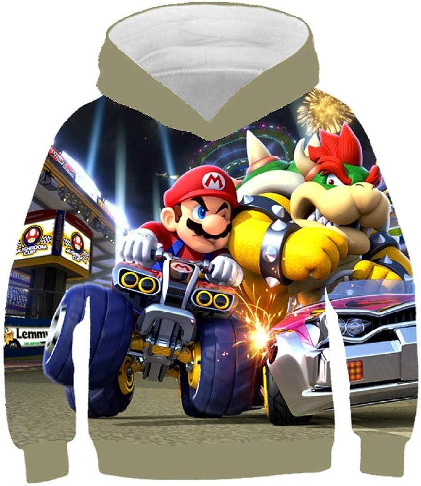 Mario Super Felpe con Cappuccio per Bambini Teen Girl Boy Stampa 3D Cartoon Felpa con Cappuccio Pullover con
