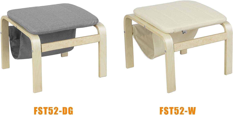 SoBuy/® FST52-W,Poggiapiedi per poltrona,Poggia Gambe in betulla con porta riviste e libri