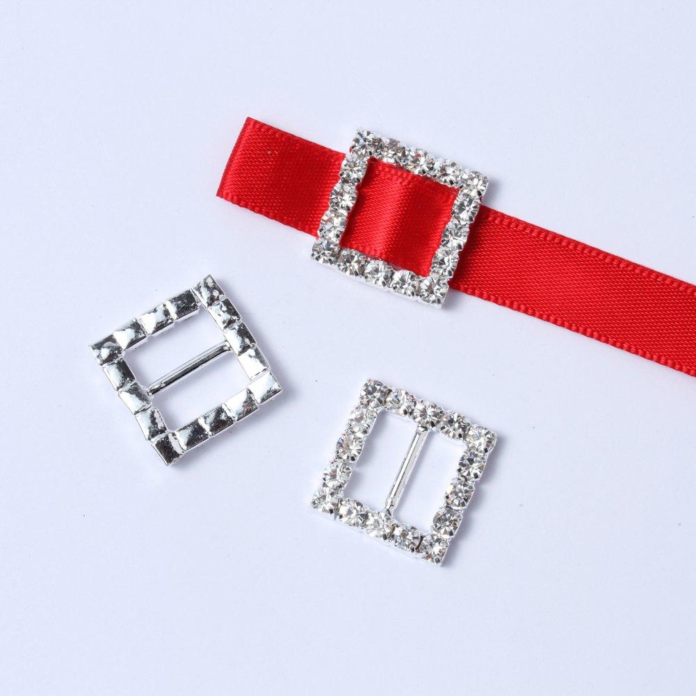50 pcs 15mm Silver Square-shaped Rhinestone Buckle Slider for Invitation Wedding Letter