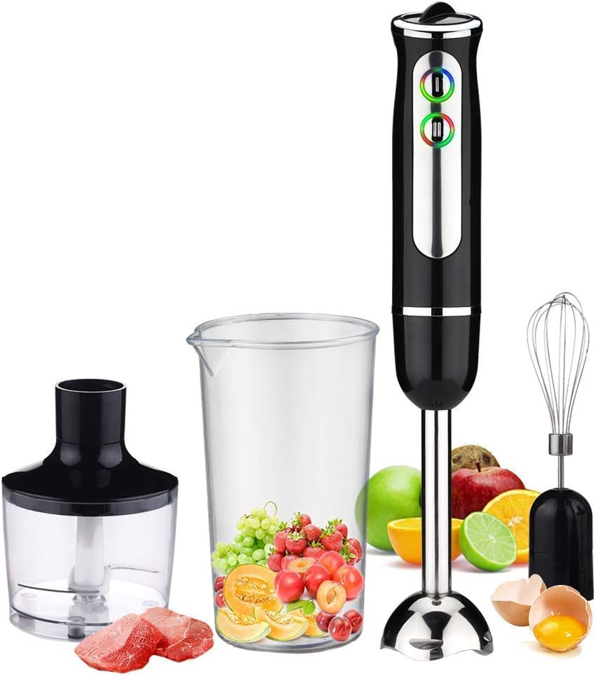 Immersion Blender,4-in-1 Hand Blender, 500 Watt 8-Speed,with 860 ml Food Processor Chopper,600 ml Mixing Beaker,Egg Whisk,for Soups, Infant Food, Smoothies, Sauces (4-in-1 Upgraded) (4-in-1 Upgraded)