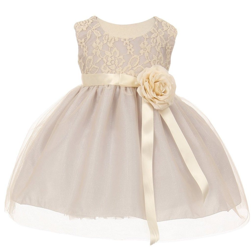 iGirlDress Baby Girls Two Tone Lace Flower Girl Dress 6Mon-24Mos