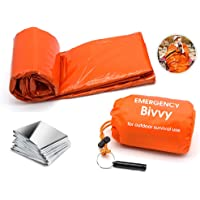 Emergency Sleeping Bag Survival Bivy Sack Emergency Space Blanket, Lightweight Sleeping Bag, Survival Gear for Outdoor…