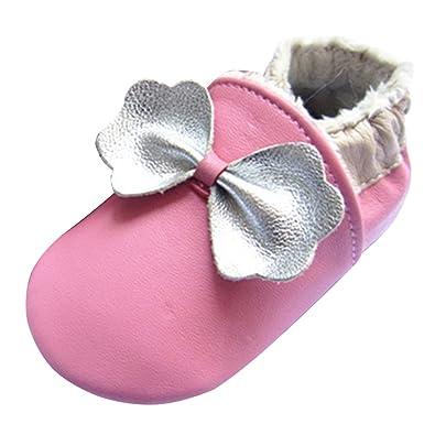 LSERVER Chaussures Bébé en Cuir Souple Premiers Pas Chaussons Semelle  Douce, Arc d argent 23c21c174b87