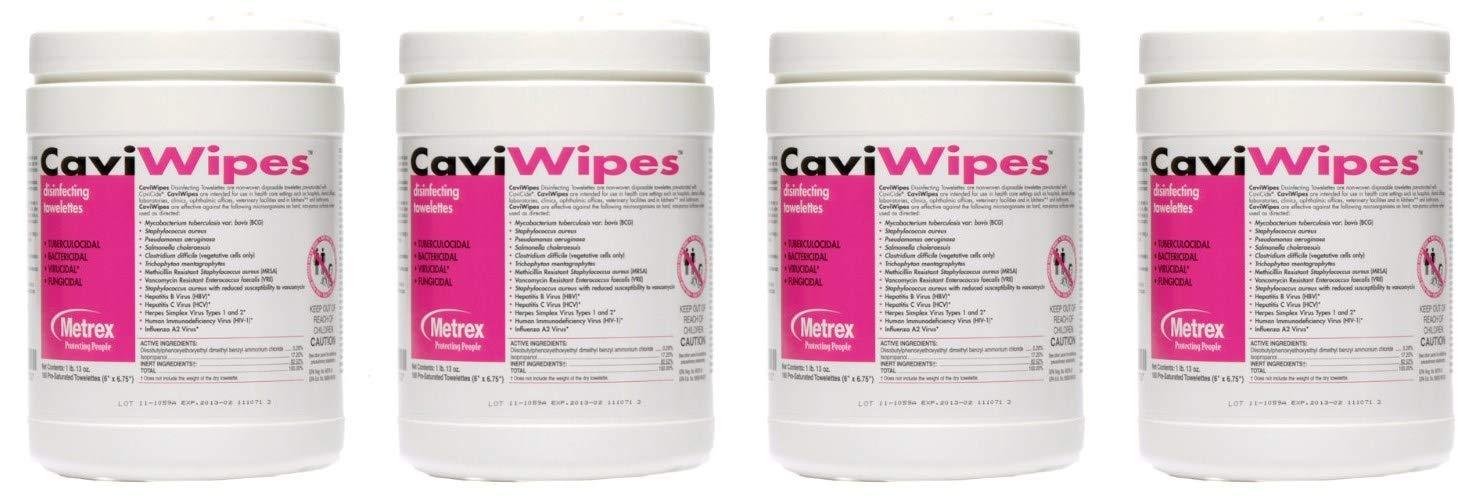 CaviWipes Metrex Disinfecting Towelettes Canister Wipes, 160 Count (4 Pack)